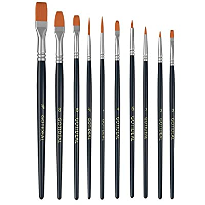GOTIDEAL Acrylic Paint Brush Set,10 Pcs Assorted Nylon Hair Brushes for All Purpose, Acrylic, Watercolor, Oil and Gouache Painting?Perfect Paint Brush for Kids & Adult