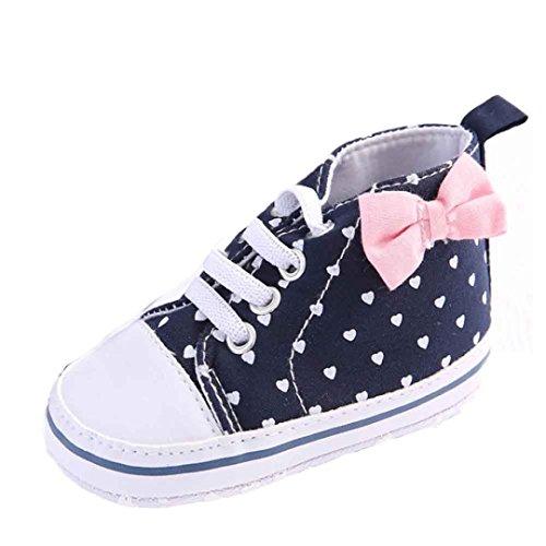 kingko® bébé fille chaussure de toile en forme de coeur chaussures Sneaker anti-dérapant souple Sole Toddler (6~12 Mois)
