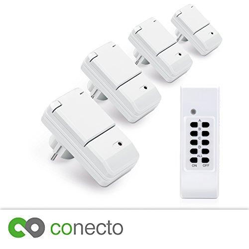 conecto Funksteckdosen Komplett Set Starterkit für Außenbereich IP44 (4-Kanal, Selbstlern-Funktion, 4X Outdoor Funksteckdose, 1x Fernbedienung) weiß