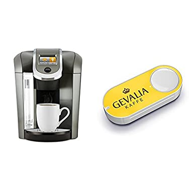 Keurig K575 Single Serve Programmable K-Cup Coffee Maker, Platinum & Gevalia Dash Button