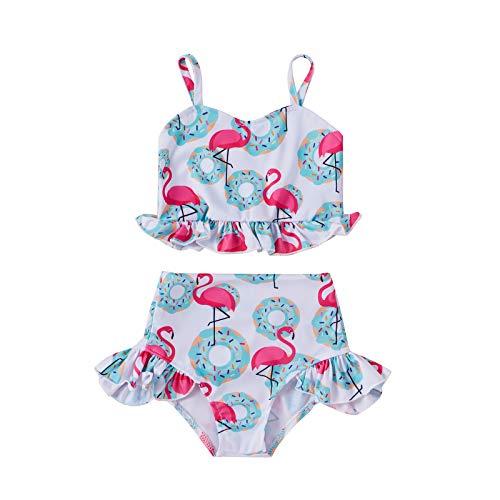 Siyova Costume da Bagno Bambina Costumi Top con Volant Stampato Ciambelle Fenicottero con Pantaloncini 2 Pezzi Completo Bambina Neonata Vestito Mare Estate Spiaggia Vacanze (Blu, 3-4anni)