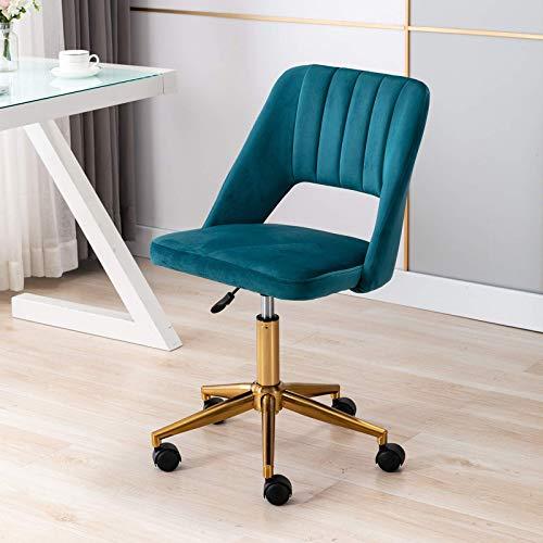Silla de oficina giratoria de terciopelo, altura ajustable, sin brazos, para oficina en casa, color verde azulado