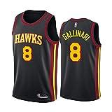 Jersey De Baloncesto para Hombre - NBA Atlanta Hawks # 8 Danilo Gallinari Jersey - Malla De Secado Rápido Cuello Redondo De Cuello Redondo Jersey,Negro,L(175~180cm)