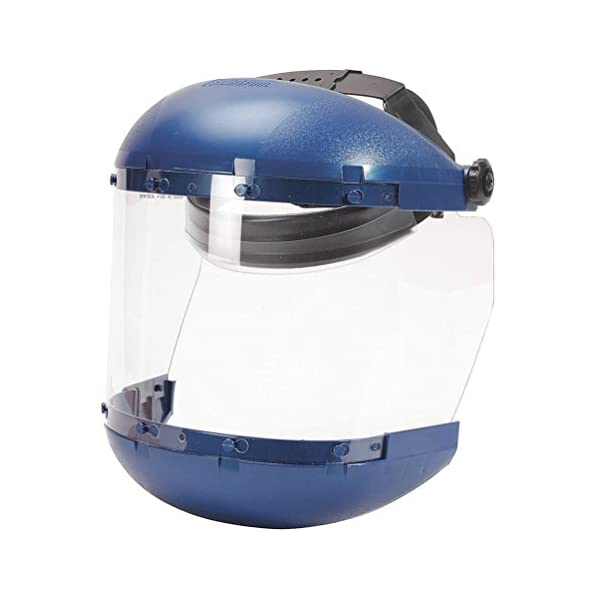 Sellstrom Dual Crown Safety Face Shield with Ratchet Headgear, Clear Tint, Anti-Fog Coating, Blue, S38140