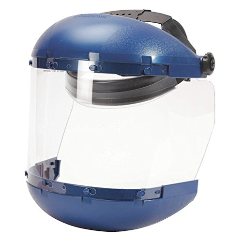 Sellstrom Dual Crown Safety Face Shield with Ratchet Headgear, Clear Tint, Uncoated, Blue, S38110
