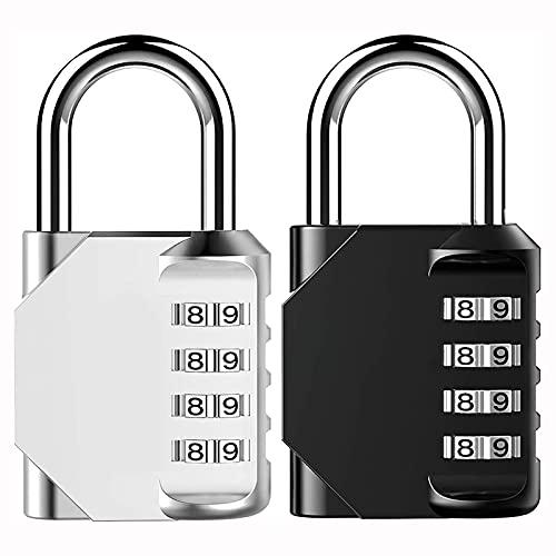 HDHUIXS 2 Paquete de 4 dígitos Cerraduras de combinación al aire libre impermeable al aire libre para el casillero del gimnasio de la escuela, gabinete de hasp, puerta, cerca, caja de herramie