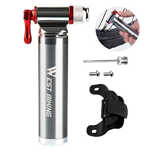 XREXS Minipumpe Fahrradpumpe CO2 Kartuschenpumpe CO2 Fahrrad Pumpe Passt auf Presta & Schrader, CO2-Inflator Head Pumpe Bike Werkzeug Zubehör Ventil(CO2 Kartusche ohne Gewinde Nicht enthalten)