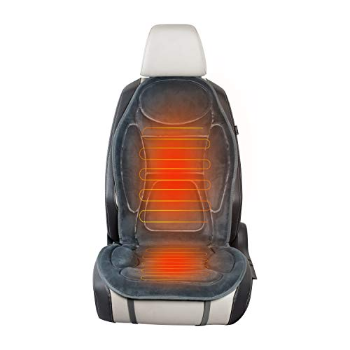 SJC 12V Heated Seat Cushion 45 Minute Timing Heating with Easy Controller, Seat Warmer Cover (Gray)