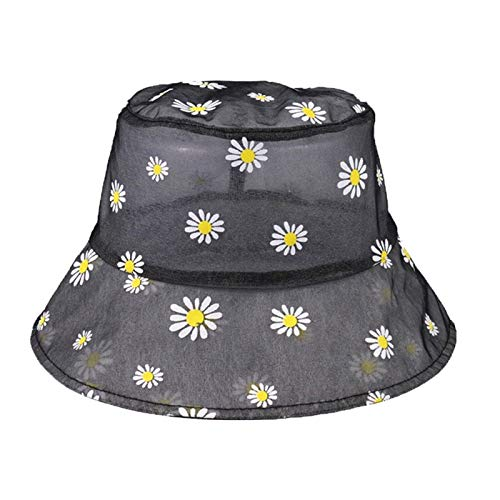 Ladies Sun Hat Outdoor Sun Protection Hat - Daisy Embroidered Bucket Hat, Women's Transparent Lace Flower Beach Panama Straw Hat, High Top Rebound Fashion Daisy Sun Hat Refreshing And Breathable Sun P