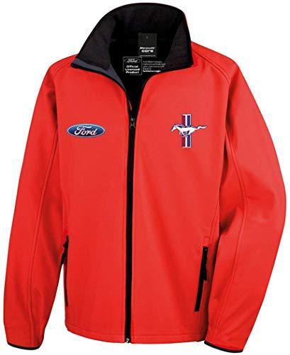Giacca da Gara Ford Mustang Softshell Ufficiale autorizzata (XL, Rosso)