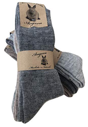 DREAM SOCKS Calcetines cálidos de lana para hombre y mujer, calcetines de lana angora muy gruesos y suaves, 3 o 6 pares. (43-46, 6 pares set. LIGHT COLOURS)