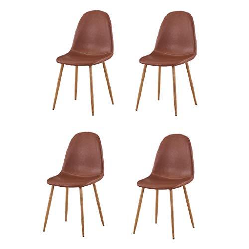 CHERRIESU Sedie da Pranzo Set di 4 sedie Laterale Imbottita in Pelle PU Vintage con Schienale Moderno Cucina Cucina sedie con Gambe in Legno Cammello Marrone
