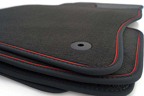 kh Teile Fußmatten passend für Golf 5 6 Velour Automatten Autoteppich 4-teilig schwarz Nubuk schwarz Zierband rot