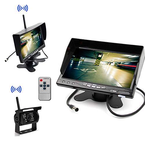 12-24V auto draadloze parkeerhulp systeem monitor + achteruitrijcamera achteruitrijsysteem, 7-inch vrachtwagenparkset