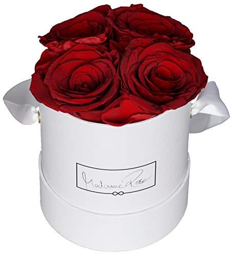 MadameRose Rosenbox rund mit 4 konservierten roten Rosen in weißer Hutschachtel als Geschenk und Deko, Größe M