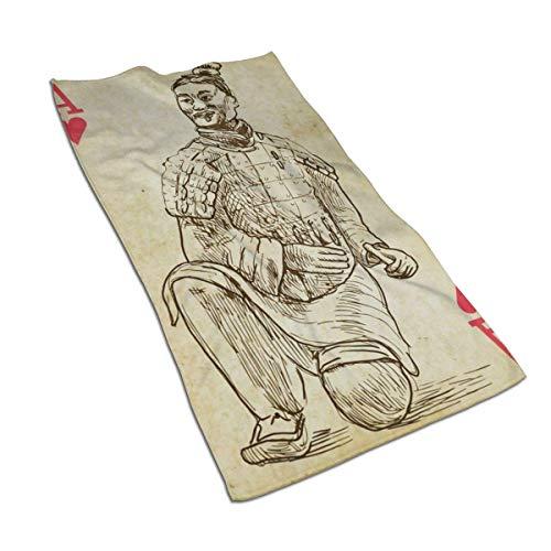 JULOE Terracota Warrior A Hand Towel Ligero Delgado Secado rápido Quick Hand Hair Gym Cara Baño Té Cocina Paño de Cocina Toalla de baño
