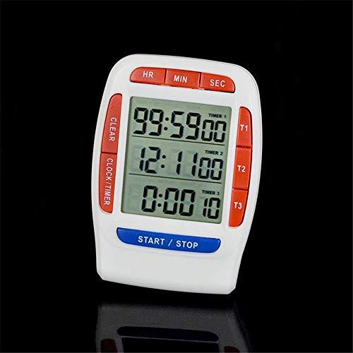 genral Timer da Cucina Digitale Timer Triplo con Conto alla rovescia Cronometro e Orologio Funzione Timer Orologio Promemoria Laboratorio Life Timer (Colore: Bianco, Dimensioni: 66x88x13mm)