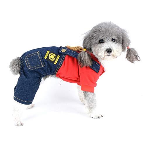 Zunea Ropa para Perros Abrigos Mono de 4 Patas Invierno Otoño Cálido Suéter Abrigo Chaquetas y Pantalón de Mezclilla Mono Cachorros Chihuahua Ropa para Perros Pequeños Niñas Niños Rojo XL