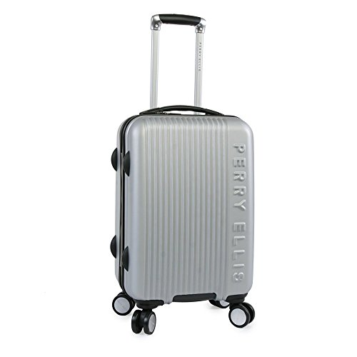 Perry Ellis Forte Hardside Spinner Carry On Luggage 21', Silver, One Size