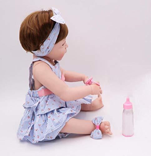 Unexceptionable-Dolls Lebensechte 23Newborn können volle Silikon Reborn Puppen Baby 57cm lebensechte Sammlung stilvolle Weihnachtenfür MädchenWeihnachten Geburtstagsgeschenke für Kinderbaden