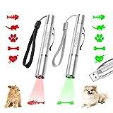 Tosiicop Juguetes para Gatos Puntero LED 2 Pack USB Recargable Juguetes para atrapar Gatos con 5 Patrones Juguetes para perseguir Gatos (Verde + Rojo)