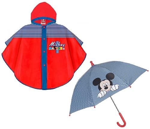 prl Mantellina Pioggia e Ombrello abbinato TOPOLINO DISNEY Poncho Antipioggia 2-5 anni Impermeabile Bambino Bimbo Mickey Mouse Perletti