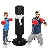 LEOHOME サンドバッグ パンチバッグ パンチ キック ボクシング テコンドー ストレス解消 サンドバッグ 160cm 子供 大人 PVC (ブラック)