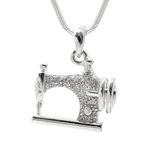 Spinningdaisy Silver Plated Crystal Sewing Machine Necklace