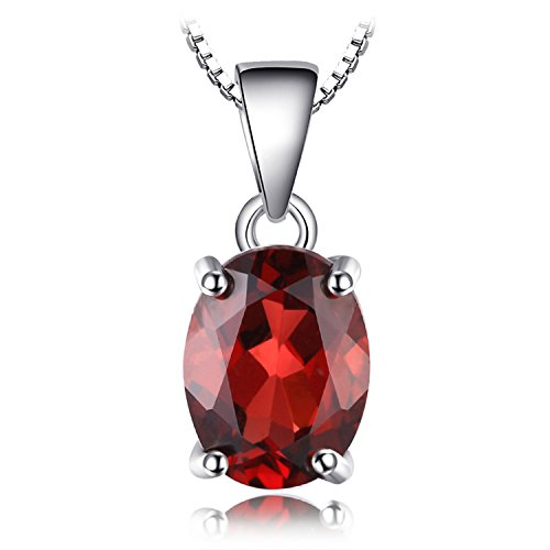 JewelryPalac Oval 2.5ct Natürlicher roter Granat Birthstone Solitaire Anhänger 925 Sterling Silber