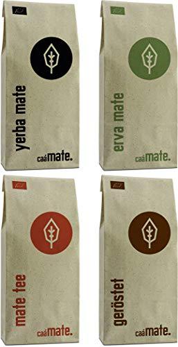 Mate Tee Probierset ● 4 Bio Matesorten ● je 100g Erva Mate + Yerba Mate + grüner Matetee + gerösteter Matetee