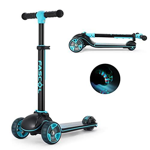 Fascol Kinderroller Faltbar Dreiradscooter ab 3-12 Jahre Kinderscooter mit LED Räder Roller Scooter für Kinder mit Verstellbarem Lenker, Blau