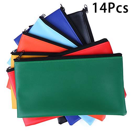14 Packs Bank Deposit Money Bag Leatherette Securit Vinyl Zipper Pouches Wallet Utility Zipper Coin Bags for Cash Money, 11x6in,7 Colors