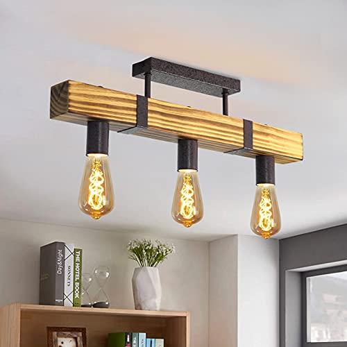 GBLY Lámpara de techo vintage de madera, 3 focos, con vigas de madera de 60 cm, E27, lámpara de cocina en diseño industrial de metal y madera, para pasillo, cocina, comedor, salón, bar, sin bombilla