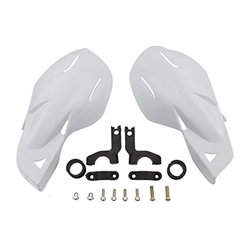 GOOFIT Paramanos Moto, 22mm Protector Manillar Motocross Aluminio Universal para Pit Bike Off-Road Scooter ATV Quad Pocket Bike Ciclomotor Blanco