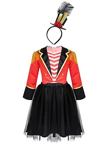 Alvivi Disfraz de Domadora de Circo para Nia Disfraz de Navidad Halloween Carnaval Disfraz de Majorettes Cosplay Costume Outfit Rojo-Negro 4 aos