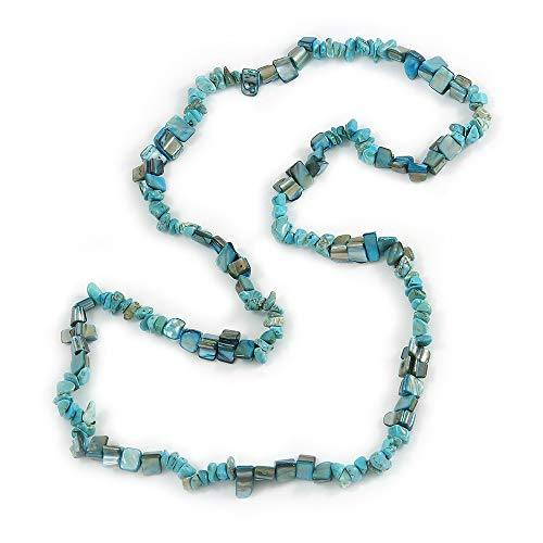 Stylish Turquoise Semiprecious Stone, Teal Sea Shell Nugget Necklace - 88cm Long