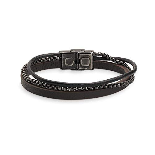 Xenox Herren Lederarmband mit Kugelkette - Leather & More X4523, Länge:21.0cm
