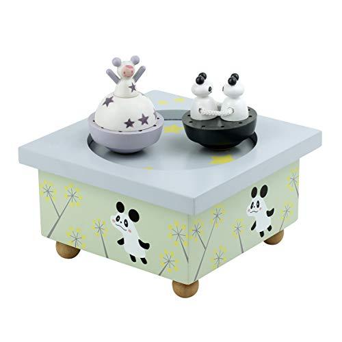 Trousselier - Mädchen & Panda - Tanzende Musikbox - Spieluhr - Ideales Geburtsgeschenk - 2 abnehmbare Figuren - Einfache Bedienung - Musik Dornröschen von Tchaikovsky - Farbe grün