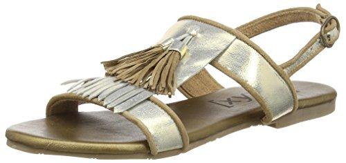 xyxyx Sandal, Damen Knöchelriemchen Sandalen, Gold (gold/beige), 39 EU