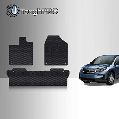 TOUGHPRO Floor Mat Accessories Set (Front Row + 2nd Row) Compatible with Honda Pilot - All Weather - Heavy Duty - (Made in USA) - Black Rubber - 2016, 2017, 2018, 2019, 2020, 2021