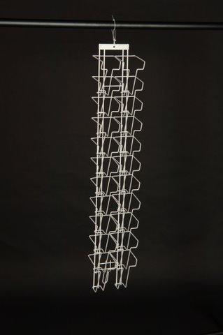 DPS Shopfitting Prospekthalter A6 Langformat (=EIN Drittel A4) mit 22 Fächern für Wandmontage