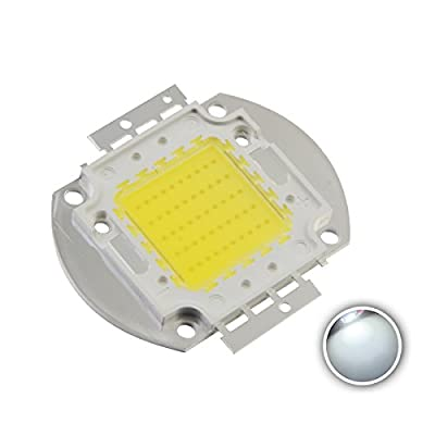 Chanzon High Power Led Chip 50W White (6000K-6500K / 1500mA / DC 30V-34V / 50 Watt) Super Bright Intensity SMD COB Light Emitter Components Diode 50 W Bulb Lamp Beads DIY Lighting