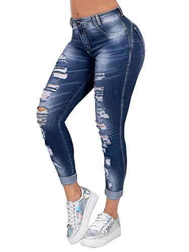 Onsoyours Femme Jeans Déchiré Push Up Skinny Slim Fit Stretch Boyfriend Denim Jean Troué Pantalons Crayon Taille Haute Jeggings Pants Casual Rétro Z1 BleuFoncé L