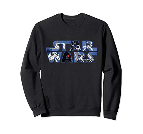 Star Wars Logo Millennium Falcon and Death Star Sweatshirt
