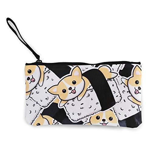 Corgi - Bolsa de lona con cremallera, bolsa de cosméticos de viaje, multifunción, bolsa de maquillaje, bolsa de teléfono móvil, paquete de lápices con asa