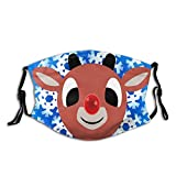 Hello Rudolph Reindeer Face Mask Fashion Adult Scarf, Reusable Washable Bandana With 2 Filters, For Men & Women