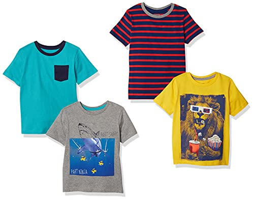 Spotted Zebra Boys' Short-Sleeve T-Shirts, 4-Pack Photoreal, Small