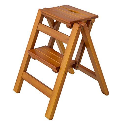 Opklapbare trapladder met 2 treden,huishoudelijke trappen Eetkamerstoelkruk Barkruk Houten trapladder voor volwassenen Gewicht Max. 150 kg