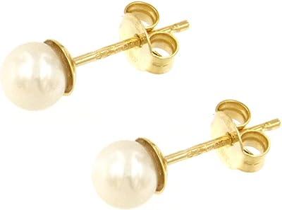 Lucchetta - Orecchini Perle Oro 18kt, Bianche Rotonde Naturali - 5mm 6mm 7mm, Perla Vera di Fiume, Orecchini d'Oro per Donna