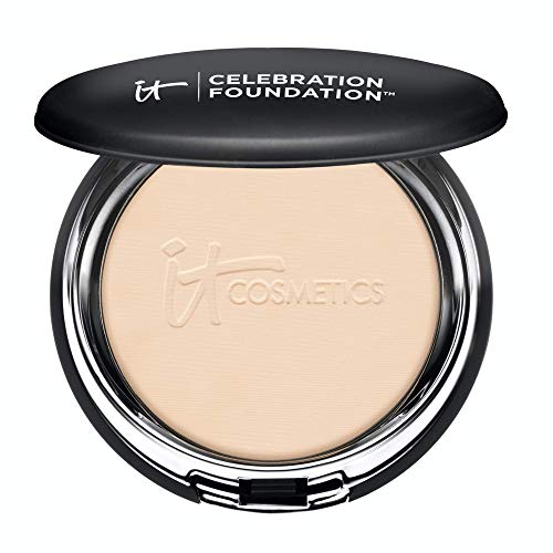 IT Cosmetics Celebration Foundation, Light (W) - Full-Coverage, Anti-Aging Powder Foundation - Blurs Pores, Wrinkles & Imperfections - With Hydrolyzed Collagen & Hyaluronic Acid - 0.3 oz Compact